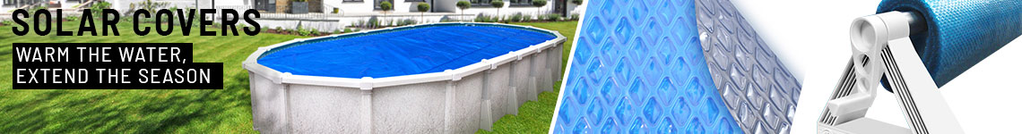 "<font size=""3"" color=""grey"">Solar Blankets for a</font><br><font size=""6"" color=""#4c586f""><strong>18' x 33' </strong>Above Ground Oval Pool</font>"